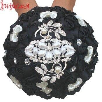 f61e8e9f75 Wifelai-a alta Qualiy diamantes perlas ramo de novia negro Rose nupcial  Mariage broche Bouquet flores estilo caliente W2913