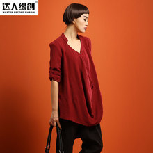 New product release in the fall of 2015, the original design 100% cotton loose big yards of women's shirt