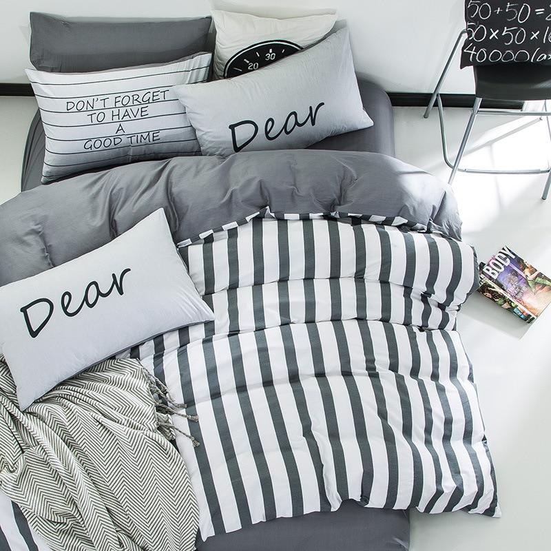 Bedding Set 100% cotton fashion simple style striped lattice 4pcs/3pcs Duvet Cover Sets Bed Linen Flat Bed Sheet Home Textile