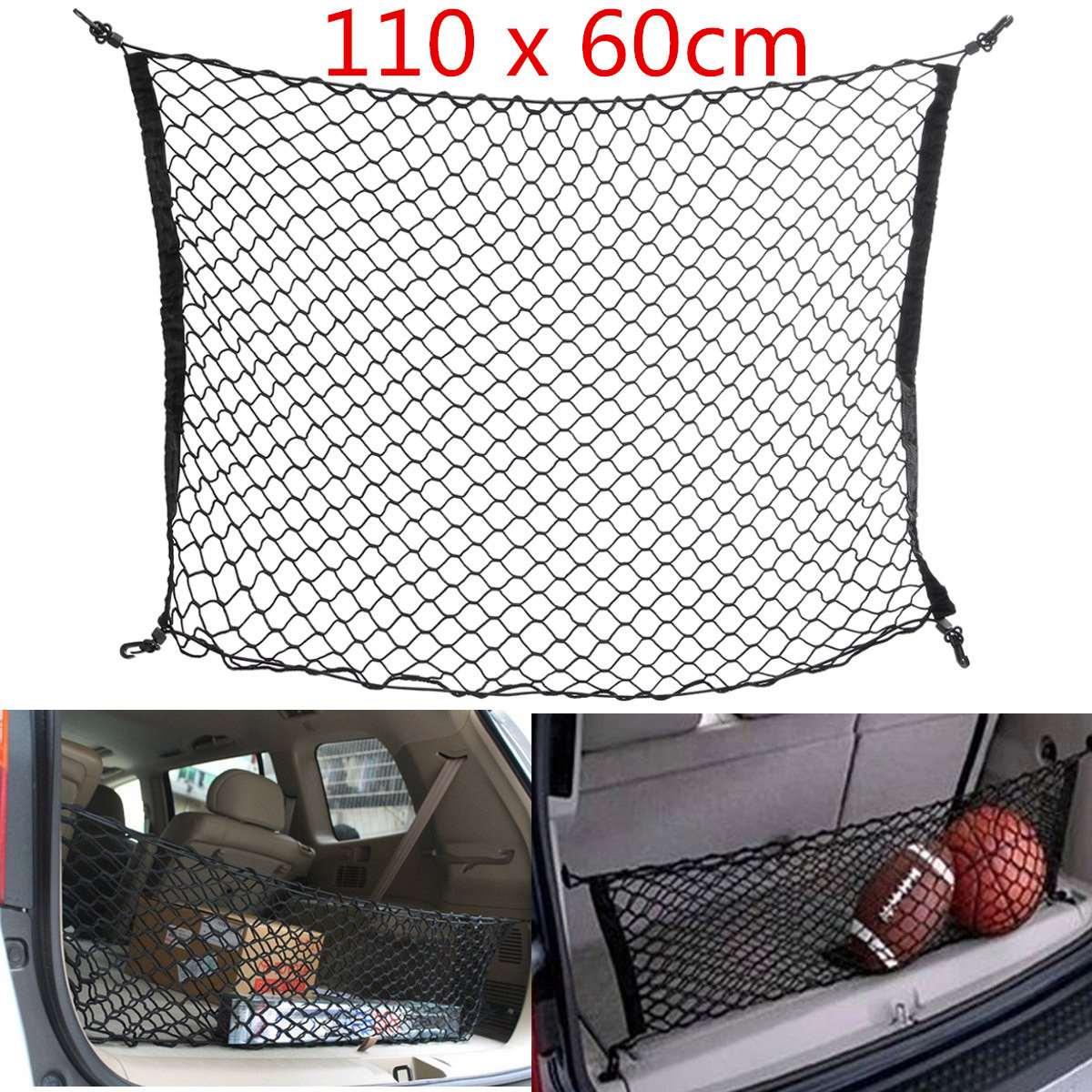 110x60 cm Auto SUV Transport Ordentlich Nylon Net Stamm Aufbewahrungsbox Organizer Gepäck Universal Black Auto Zubehör Netze