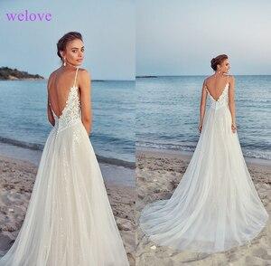 Image 2 - חלוק דה mariee חדש הגעה 2020 קיץ חוף חתונת שמלה עם רצועות לבן גב פתוח חתונת שמלות שריד דה Noiva