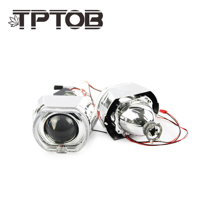 TPTOB X5 Square <font><b>LED</b></font> Angel Eyes Devil Halo DRL Bi Xenon <font><b>Lens</b></font> Car Projector <font><b>Headlight</b></font> HID Auto Tuning Kit H4 <font><b>H7</b></font> Use H1 Bulbs image