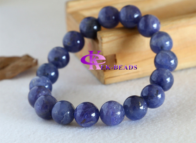 Discount Wholesale Natural Genuine Blue Tanzanite Finished Stretch Men's Bracelets Beaded Round Big beads 11mm 03181
