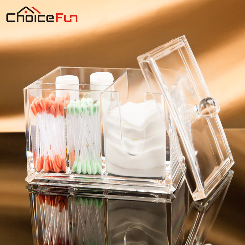 CHOICEFUN Badrum Klar Transparent Akryl Kosmetisk Bomull Pad Förvaringslåda Bomullspinne Makeup Make Up Organizer For Cotton Pad