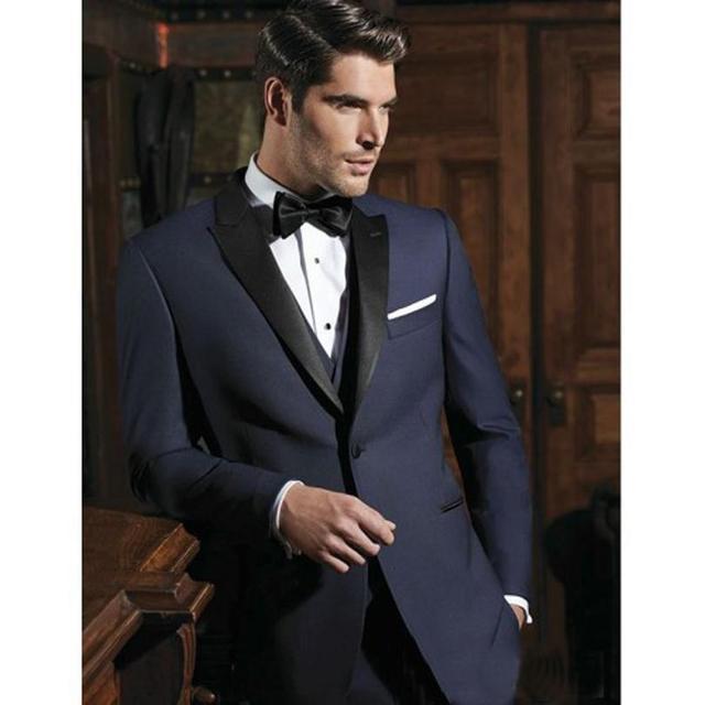 0d06e6f2552 Groomsmen Peak Black Lapel Groom Tuxedos Navy Blue Men Suits Two Buttons  Wedding Best Man Blazer (Jacket+Pants+Vest +Tie) Z91