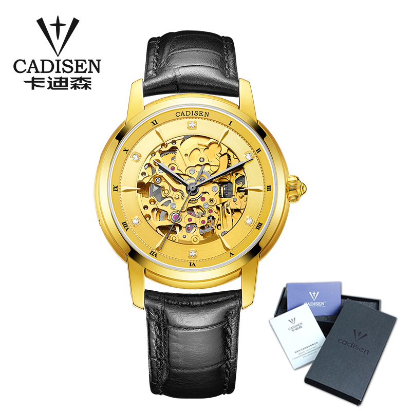 CADISEN Men Watch Skeleton Automatic Mechanical Leather Wristwatch Mans Fashion Business Watches masculino Top Luxury Brand 50M