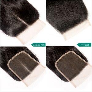Image 5 - Ali graça fechamento brasileiro da onda do corpo 4x4 cor do laço transparente mão amarrada remy cabelo humano fechamento do laço brasileiro