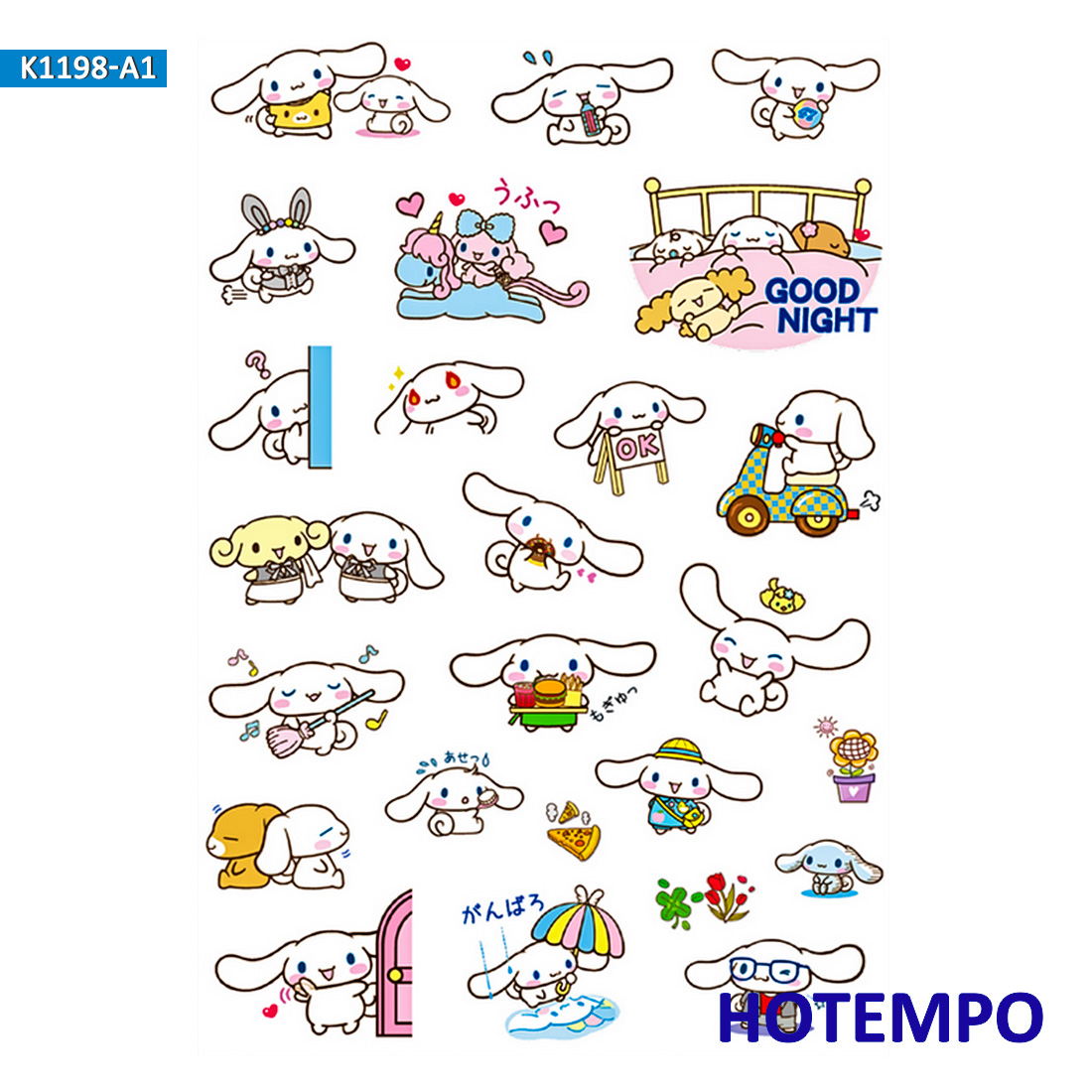 1 Sheet Cinnamoroll Sanrio Stickers Girl Children Kids Gift DIY Letter Diary Scrapbooking Stationery Pegatinas Decal Stickers