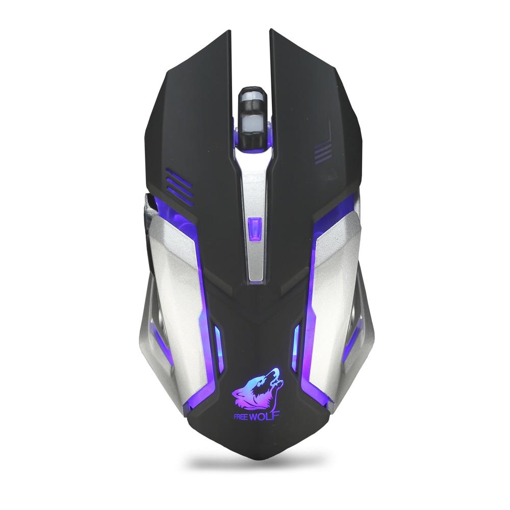X7 2.4GHz Inalámbrico Recargable LED Retroiluminado Ratón Óptico USB 6 Botones Ergonómico Silent Gaming Mouse Gamer 1600DPI PC Portátil