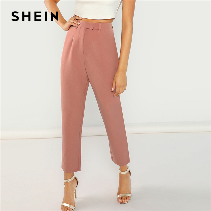 SHEIN Pink High Waist Solid Peg Leg Zipper Fly Pants Women Crop Pencil Trousers Office Lady Spring Workwear Carrot Pants