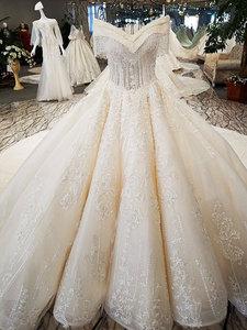 Image 3 - AIJINGYU 웨딩 드레스 2021 가운 스팽글 긴 꼬리 독특한 가운 핀란드 웨딩 드레스 직물과 최신 신부 부티크를 구입