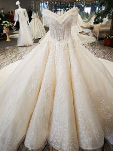 Image 3 - AIJINGYU Wedding Dresses 2021 Gowns Sequin Buy Bridal Boutique Newest With Long Tail Unique Gown Finland Wedding Dress Fabric