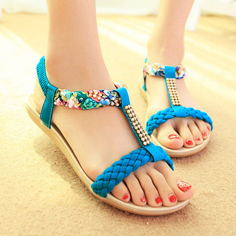 LAKESHI Fashion Women Sandals 2019 Women Shoes Flat Sandals Women Rhinestones Ladies Shoes Summer Beach Sandalias Female Shoes girl shoes in sri lanka