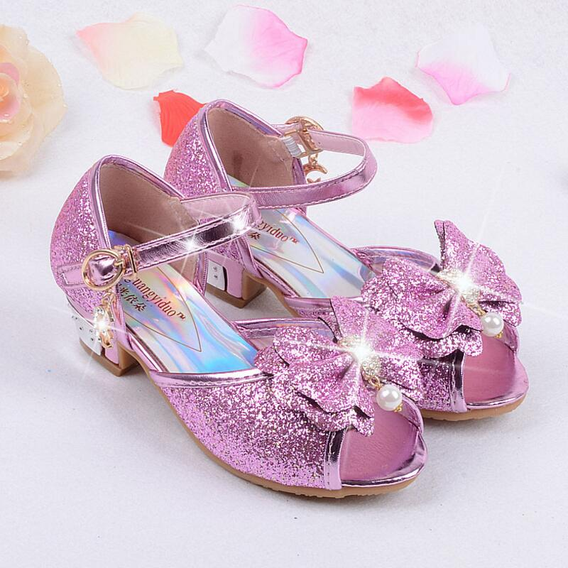 4f330db1d16 US $24.89 |Kids Girls High Heels Sandals Summer 2018 Children Princess  Dress Sandals Party Shoes For Girl Leather Bowtie Wedding Shoes-in Sandals  from ...
