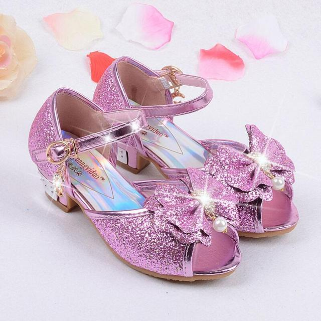 39dbdf362 Kids Girls High Heels Sandals Summer 2018 Children Princess Dress Sandals  Party Shoes For Girl Leather Bowtie Wedding Shoes