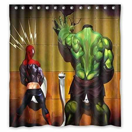 Bathroom Shower Curtains Funny Spiderman And The Hulk 180x180cm Ecofriendly Waterproof Fabric Shower Curtain