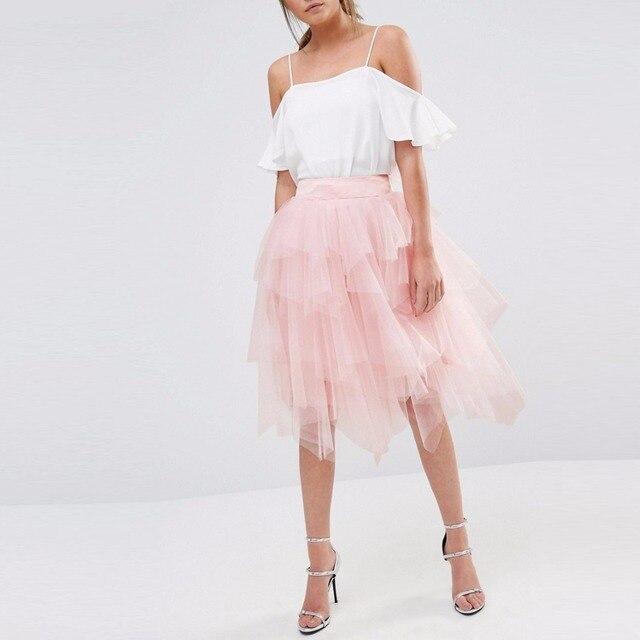 72fdc75b643c Light Pink Tiered Layered Tulle Skirt Wide Zipper Waistline A Line Knee  Length Skirt Custom Made Pretty Skirts Women