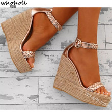 WHOHOLL Women Sexy Wedge Sandals Pumps Platform High Heels Woven PU Leather Woman Chaussure Zapatos Mujer Ladies Hemp Loop Shoes