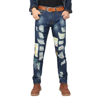 New Straight Patchwork Jeans Men Slim Denim Jeans Ripped Pants Brand Clothing Casual Men S Jeans
