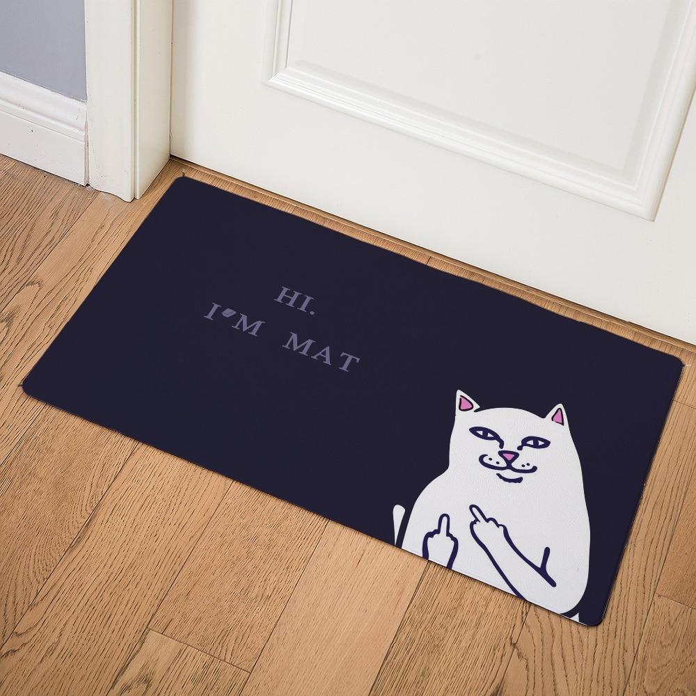 Image 3 - Cartoon Animal Cat Go Away Printing Doormat Home Decoration Non slip Floor Mat Cat Door Mat  Tapis de bain felpudo PU-in Mat from Home & Garden