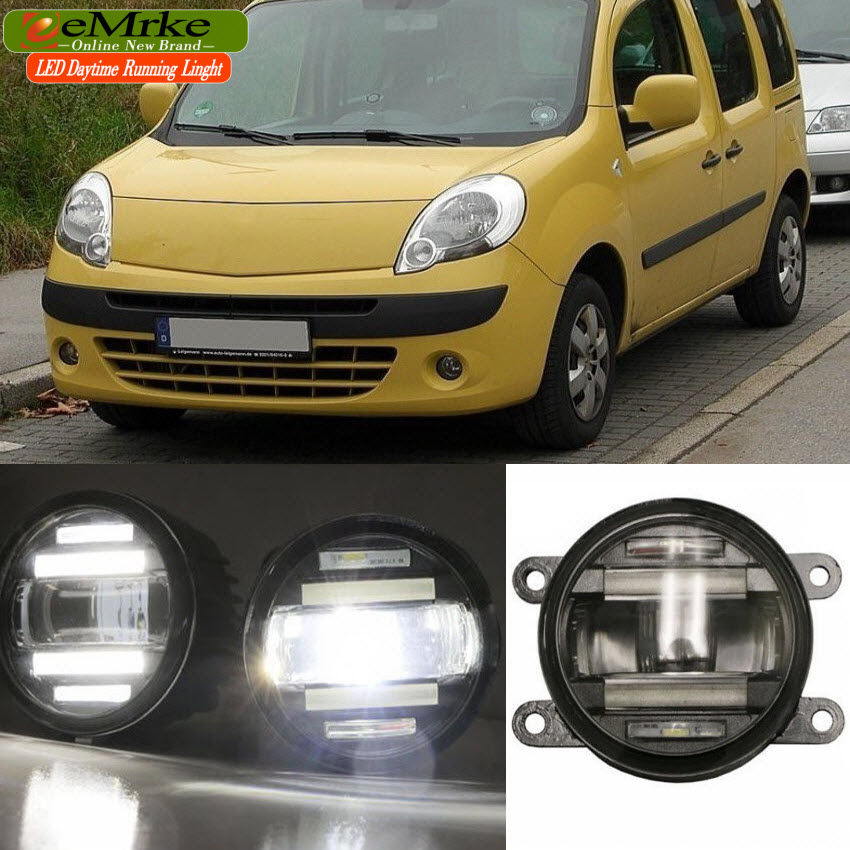 eeMrke Xenon White High Power 2 in 1  LED DRL Projector Fog Lamp With Lens Daytime Running Lights For Renault Kangoo 2 2008-2015 high quality h3 led 20w led projector high power white car auto drl daytime running lights headlight fog lamp bulb dc12v