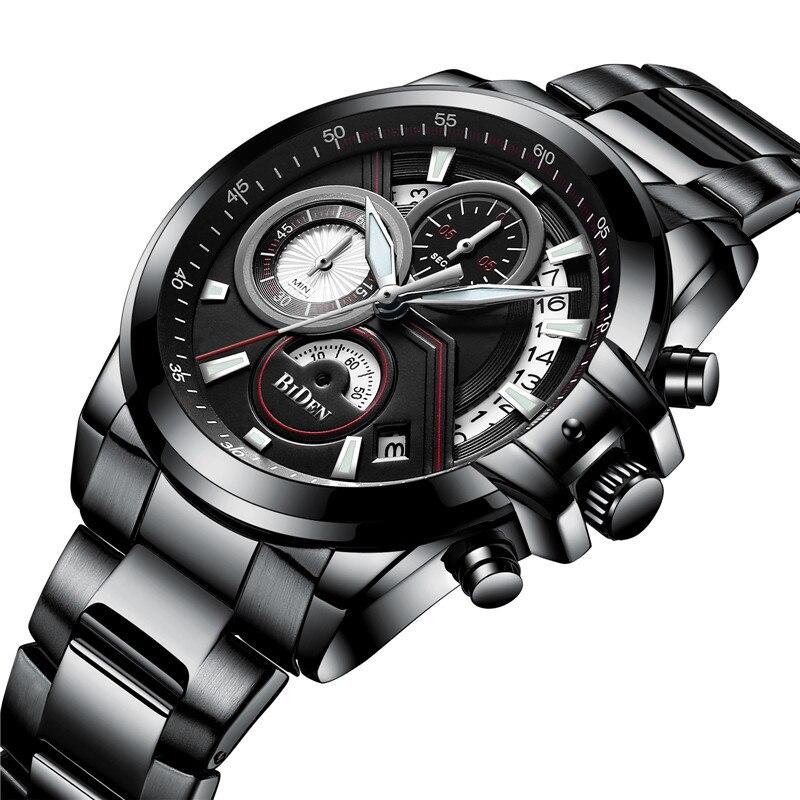 BIDEN Mens Watches Waterproof Chronograph Sport Military Top Brand Luxury Men Watch Stainless Steel Quartz Male Clock Gift 0083