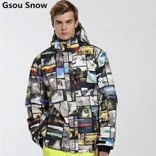 Marca para hombre traje de esquí Gsou Nieve Snowboard chaqueta de esquí de los hombres invierno chaqueta esqui hombre veste homme de esquí caliente impermeable jas heren