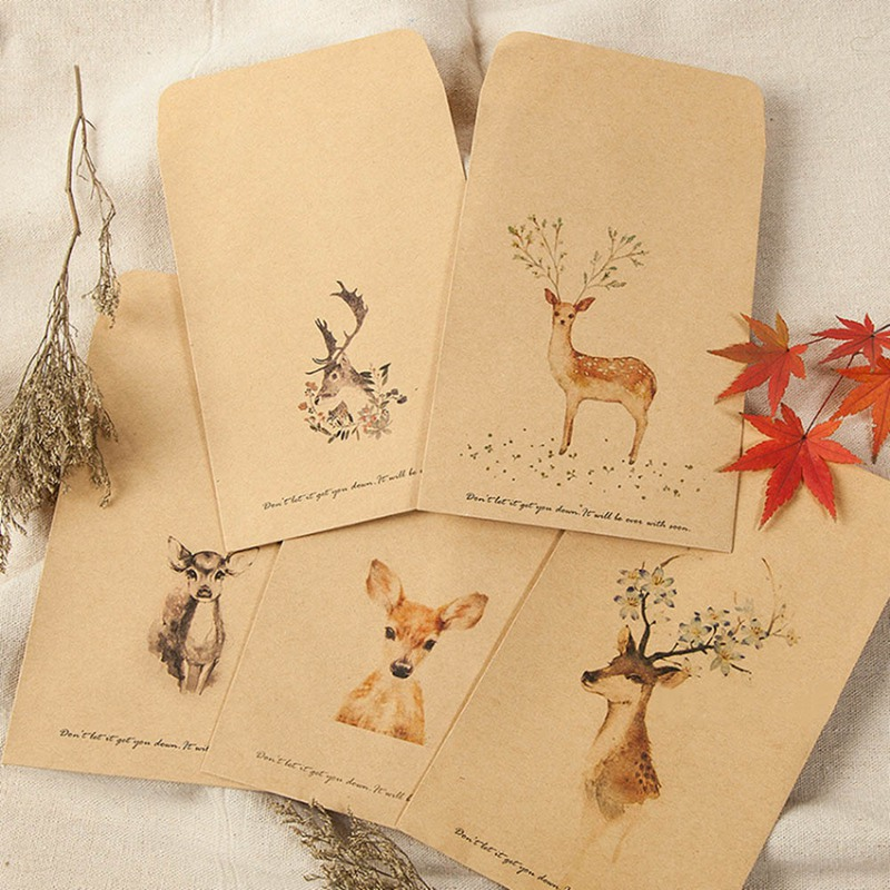 10 PCS/Set DIY Deer Envelope Cute Retro Kraft Paper Envelopes Gift Card Office Stationery Supplier Style Available
