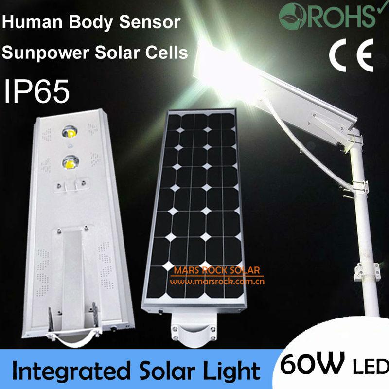Waterproof! 60W LED Solar Lamp, Solar Sensor Lamp, 80W Solar Panel 33AH Battery All In One, Integrated Solar LED Lamp for Garden цена