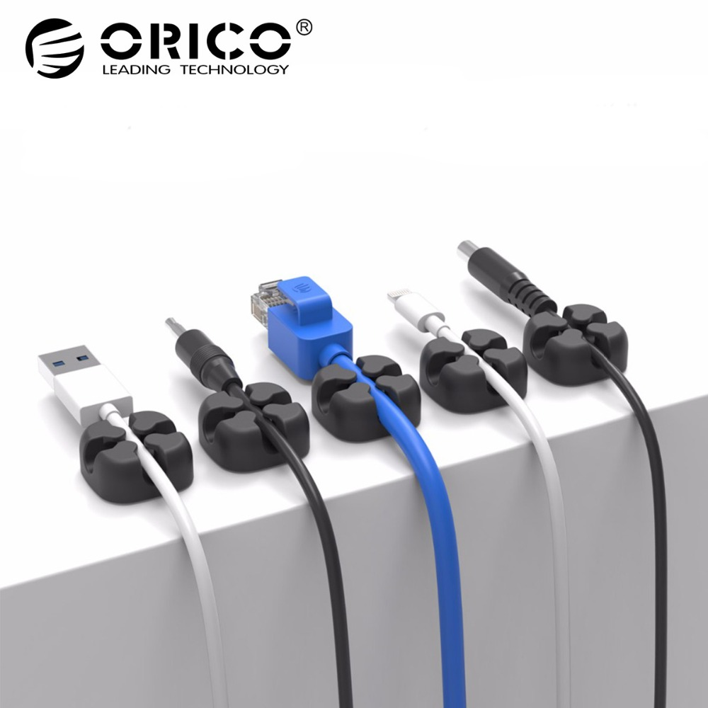 ORICO Desktop Cable Clip Cable Winder Wire Organizer Cable Cord Holder Management System Wire Earphone Winder iskybob 5pcs key cord cable organizer winder earphone headphone wrap winder wire holder page 8