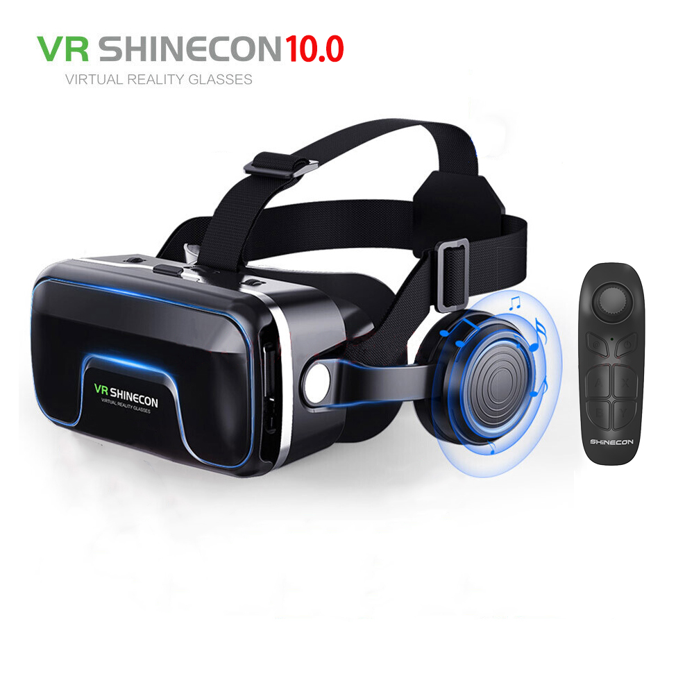 Hot!2019 Google Cardboard VR shinecon Pro Version VR Virtual Reality 3D Glasses +Smart Bluetooth Wireless Remote Control Gamepad image