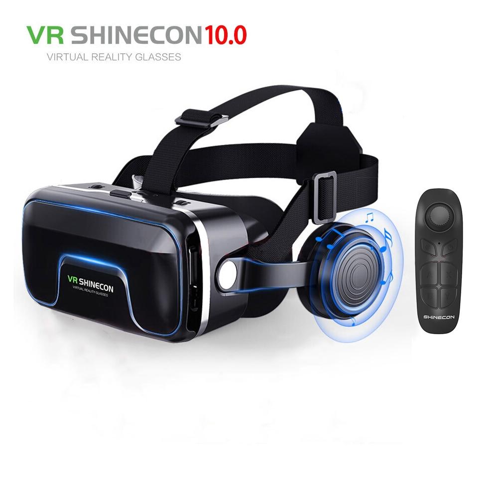 Hot! 2019 Google Papelão VR shinecon Pro Versão VR Óculos de Realidade Virtual 3D + Controle Remoto Inteligente Sem Fio Bluetooth Gamepad