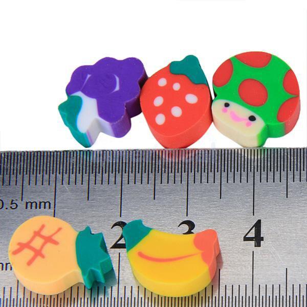 50pcs Mini Fruit Expression Eraser Fruits Eraser Lovely Fruit Shape Mini Eraser School Supplies Children Learning Toys