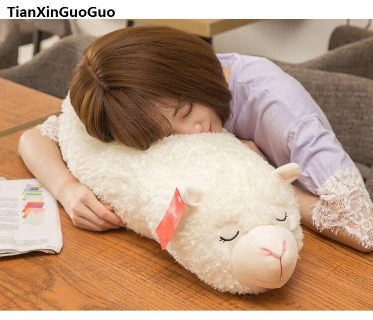 Grand 70 cm charmant alpaga couché peluche dessin animé beige alpaga poupée très douce cadeau d'anniversaire b0793