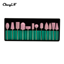 Nails machine Accessories 12pcs/set Professional Nail Art Polishing Grinding Head Tools Nail Art Ceramic Electric Drill Bits -48