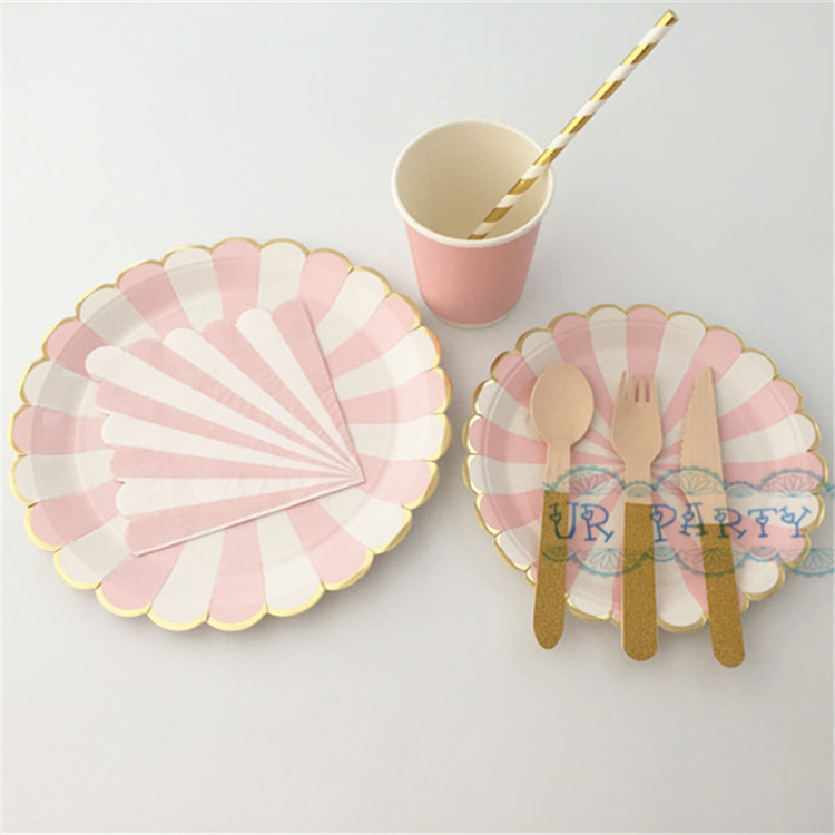 24 sets 192pcs disposable paper tableware foil pink gold paper plates cups napkins straws