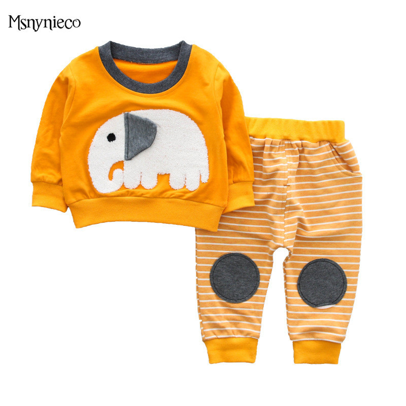 Baby Boy Clothing Set 2018 Spring Casual Cartoon Elephant Top+Pants Trousers Kids 2pcs Suit Sets Infant Baby Boys Clothes Sets malayu baby kids clothing sets baby boys girls cartoon elephant cotton set autumn children clothes child t shirt pants suit