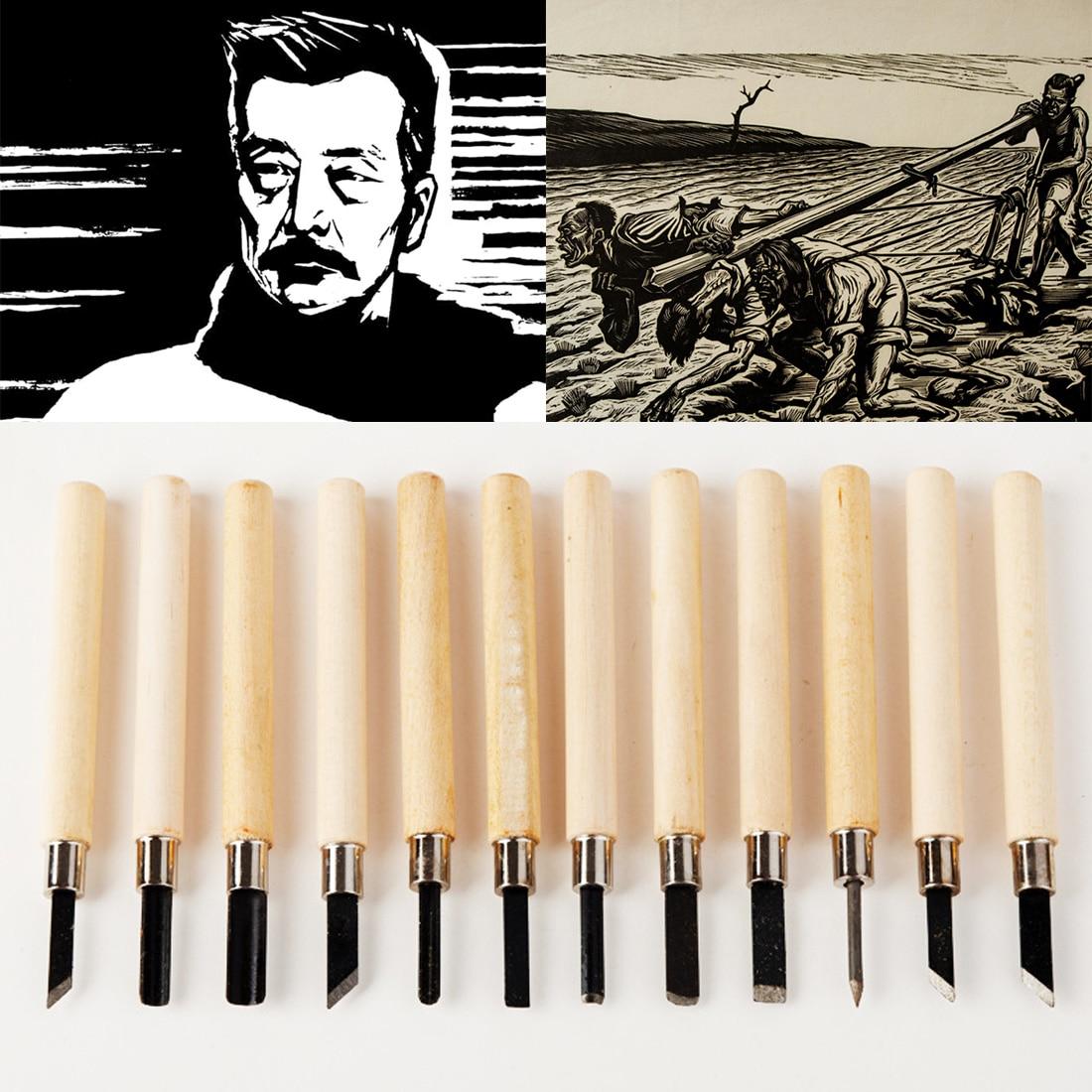 DIY Pen Woodcut Knife Scarper Wood Carving Tools 10pcs/12pcs Woodworking Hobby Arts Crafts Nicking Cutter Graver Scalpel