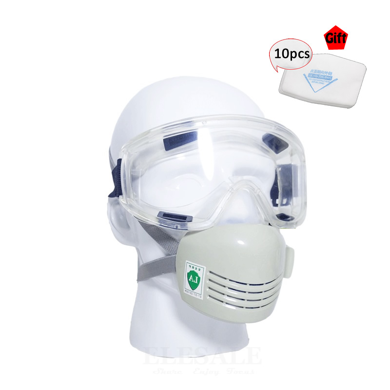 New Dust Mask With Wind-proof Safety Glasses Dust-Proof Silicone Work Safety Mask Respirator + 10 Cotton Filters Gift summer dust proof sunscreen neck mask female outdoor riding mask