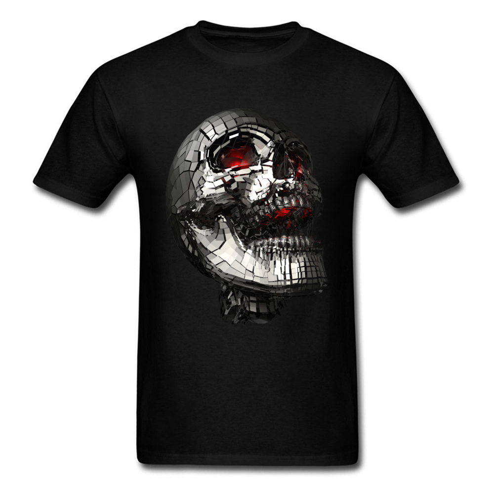 100% Cotton Mens Tshirt No Laughing Matter T-shirts Street Heavy Metal Skull Punk T Shirt New Arrival Round Neck Streetwear