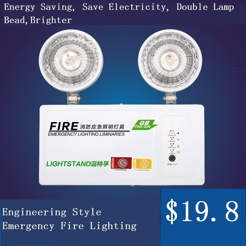 Double heads fire emergency light isointernational led charge lamp lighting evacuation indicator plug in electricity style corridor fire emergency light led safety export indicator sign vacuation passageway marker light