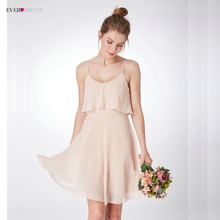 Купить с кэшбэком New Arrival Women's Elegant Bridesmaid Dresses Ever Pretty EP04052 Spaghetti Straps Ruffles Short Bridesmaid Beach Dresses 2018