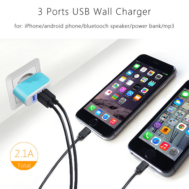 3 Ports 2A Micro USB EU Plug Charging Portable Mobile Phone Adapter Travel Wall Charger for iPhone 7 6s 6 5s 5 4 Samsung Charge