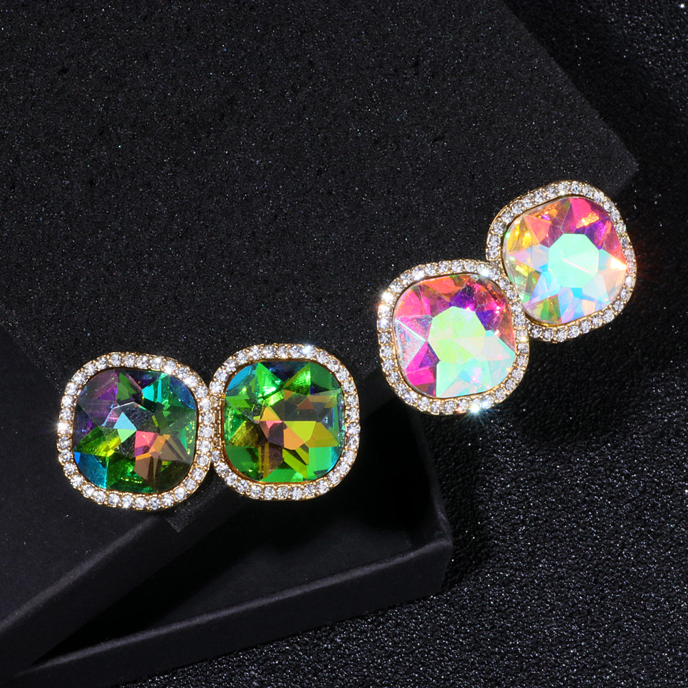 New Fashion Luxury Jewelry Colour Crystal Rhinestone Square Stud Earrings For Woman Gold Color Earring Accessories Brincos WX035