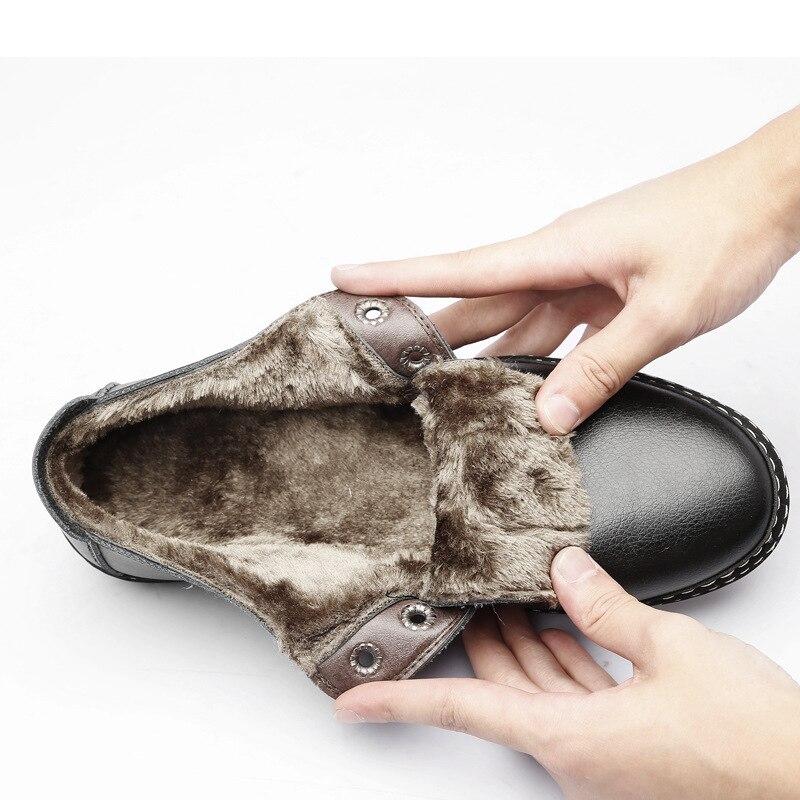 2018 Caliente Fur black Zapatillas Otoño Ocasionales brown With Negro Zapatos Manera De Cuddly Chaussure Invierno La Cuero Panda Fur Homme Hombres Mocasines Del Cómodas Suave marrón gwx1AA5q8