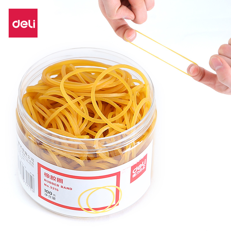 Deli Stationery Office Supplies 100g elastic band high quality Rubber Bands latex loop Stationery Holder Desk Accessories Shop