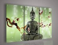 Wall art God Home Decor Plum flower India Buddha Oil Painting on Canvas gift No Frame 100% hand painted high Q. 3 pieces/set