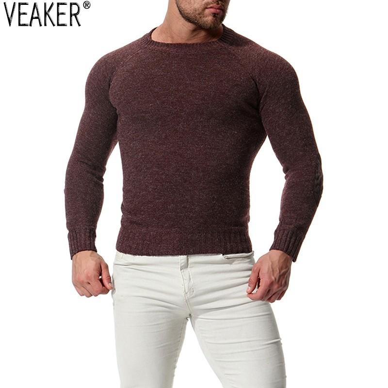 Sweater Knitwear Pullover O-Neck Slim-Fit Autumn Male Men's New Solid Skinny S-2XL Sexy