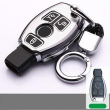 Aluminium alloy Luminous For Mercedes Benz Auto Car Key Case Leather Key Cover For Mercedes Benz W203 W210 W211 W124 W202 W204 A