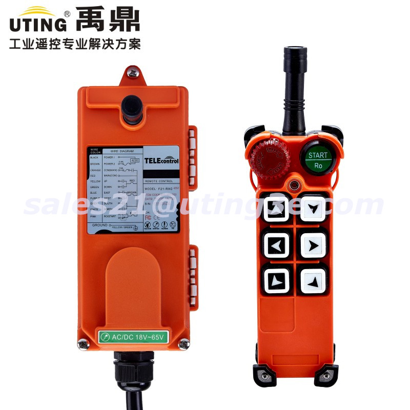 UTING Crane Industrial Wireless Radio Remote Control F21-E1 for Hoist Crane f21 e2 radio industrial remote control for crane 6 button 1transmitter 1receiver